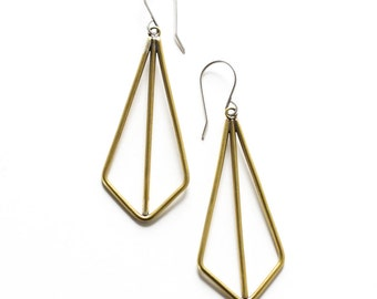 """Modern and geometric earrings of angles and lines handmade of brass wire formed into a visually striking kite shape - """"Brass Kite Earrings"""""""
