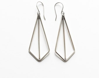 """Modern geometric earrings of angles and lines handmade of sterling silver wire formed into a striking kite shape - """"Silver Kite Earrings"""""""