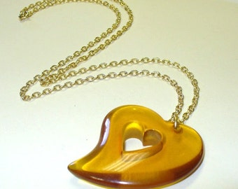 Vintage Lucite Heart Necklace DEADSTOCK