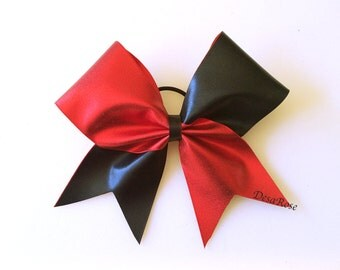 Tick Tock Cheer Bow in Metallic Red and Black