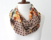 FREE SHIPPING Polka Dots Print Infinity Scarf - Loop Scarf - Circle Scarf - Cowl Scarf - Soft and Lightweight