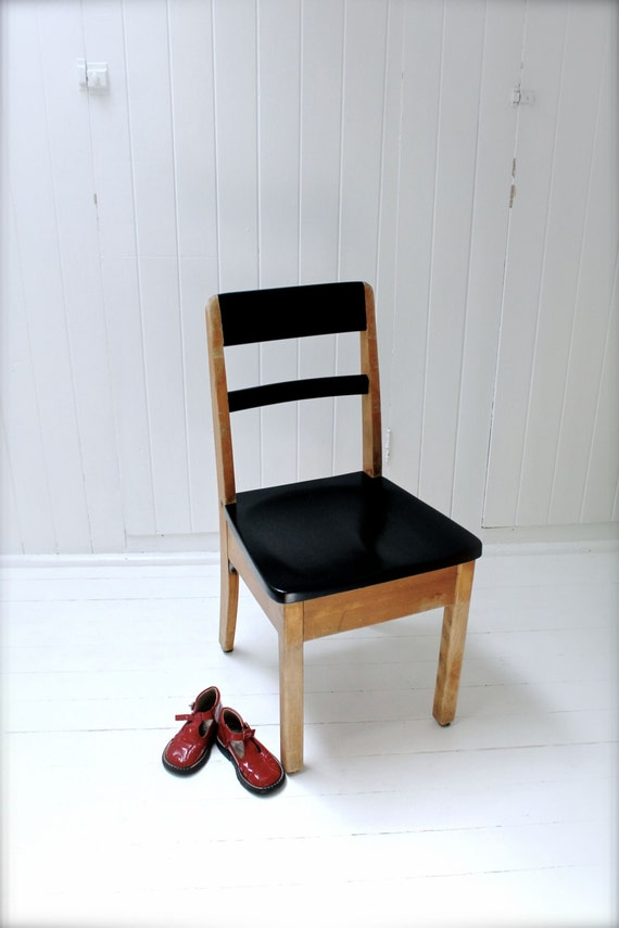 Vintage Upcycled Little School Chair Black And Wood