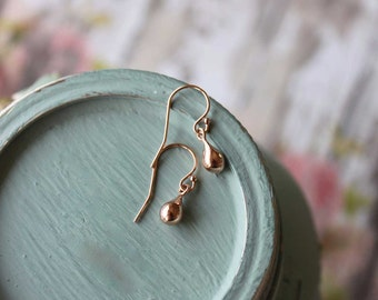 Tiny Rose Gold Dangle Earrings, Small Pink Gold Drops, 14k Rose Gold Fill, Small Lightweight Rose Gold Earrings Minimalist Rose Gold Jewelry