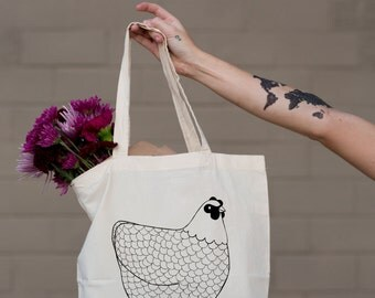 Tote Bag For Her, Gifts for Her, Birthday Gift, Library Bag, Grocery Bag, Farmers Market Tote, Reusable Bag, Chicken Tote, Love They Farmer