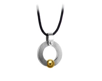 Gold and Stainless Steel Circle Pendant Tension Set