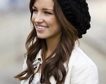 CROCHET PATTERN PDF, Black Bobbled Crocheted Slouchy hat, women's hat, teen beanie, hat for teenage girl, instant download, yarntwisted