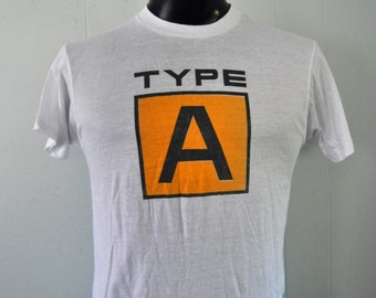 Near Burnout Vintage TShirt Blood Donor Worcester MA St Vincents Type A Yellow White Tee MEDIUM