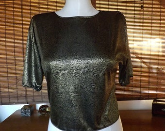 Vintage 80s Disco Rocker Metallic Black and Gold Speckled Crop T Shirt Blouse M Free Shipping