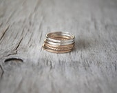 Set of 5 Gold and Silver Stacking Ring Set - 12k Gold Filled, Sterling Silver Stack Rings - Handcrafted Gold and Silver Ring Stack Set