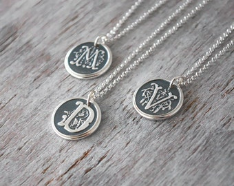 Personalized Wax Seal Initial Necklace - Ornate Custom Initial Charm with Sterling Silver Chain - Moms Necklace - Letter Necklace