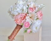 Silk Bridal Bouquet Peonies and Wildflowers Rustic Chic Wedding NEW 2014 Design by Morgann Hill Designs