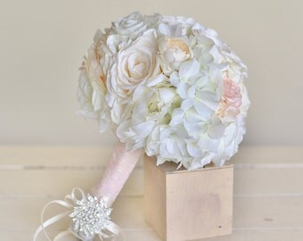 Silk Bridal Bouquet Pink Roses Baby's Breath Rustic Chic Wedding NEW 2014 Design by Morgann Hill Designs
