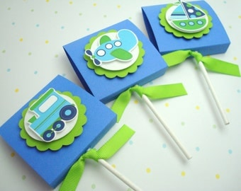 Transportation Lollipop Favors, Blue and Lime Green, Set of Ten