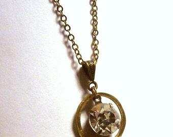 Starlight Starbright - Crystal Rivoli in Hammered Brass Circle Pendant in Antique Brass