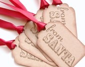 Santa Christmas Tags, from Santa gift tag set of 6, children gift tags, handmade santa tags