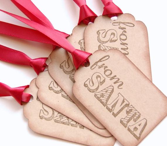 Santa Christmas Tags, from Santa gift tag set of 6, children gift tags, handmade santa tags