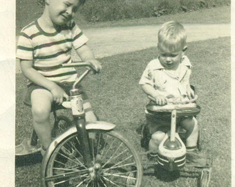 Brothers Riding Around Tricycle Scooter Baby Boy 1940s Vintage Black and White Photo Photograph