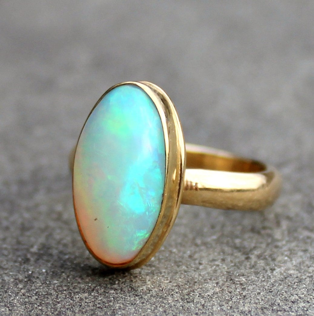opal ring opal gold ring opal 18 kt solid gold ring