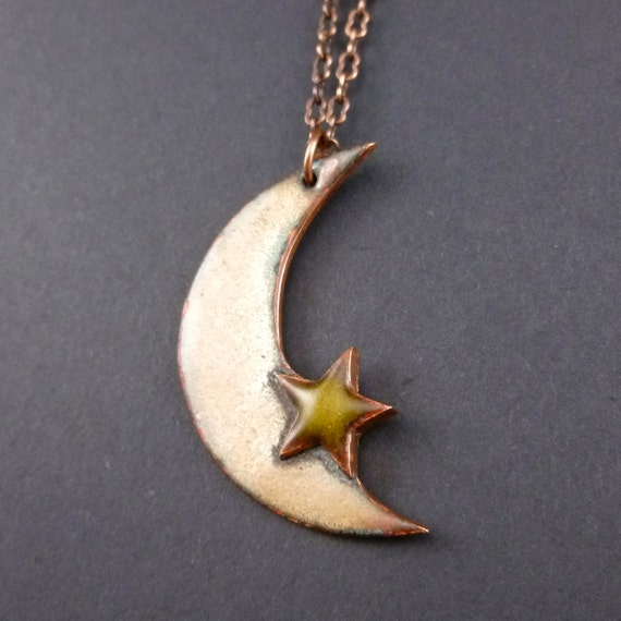 Primitive Crescent Moon & Star Necklace