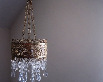 Vintage Style French Brocade Band Candle Chandelier in Antiqued Gold Leaf MADE TO ORDER