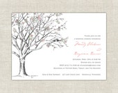 Love Birds Bridal Shower Wedding Shower Pink Blush Gray Tree Bird Carved Tree Elegant