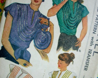 UNCUT 1940s Vintage McCall Pattern 1283 - ELEGANT Sequin Wrap Around Blouse and Hand Bag with Transfers * Size 14