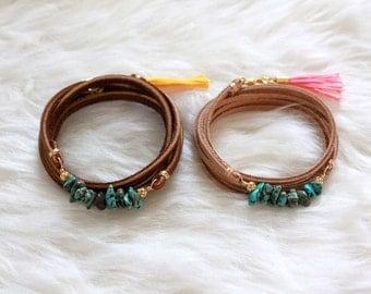 Turquoise Wrap Bracelet -- Choose Your Tassel Color