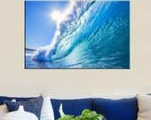 Canvas Prints - Wave Photo Canvas Print - Water Canvas Art - Ocean Photo Canvas Prints - Framed Ready to Hang - Ocean Wave Wall Art