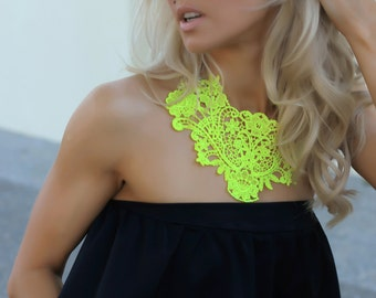 NEON yellow crochet bib statement NECKLACE By designer Justyna G