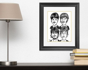 Beatles Caricature Drawing (John Lennon) Original Print