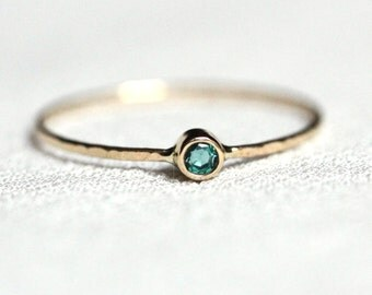 Tiny Delicate Emerald 14k Gold Stack Ring - Solid 14k Gold Emerald Rose or White or Yellow Gold - Hammered Stacking Ring - May Birthstone