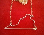 Virginia State Necklace - Virginia State Outline Necklace - Virginia Necklace