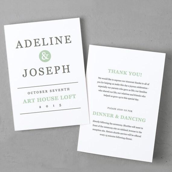 printable wedding program template instant download mint. Black Bedroom Furniture Sets. Home Design Ideas