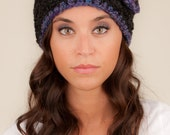 Katie Hat in Black in Blue-purple Flower