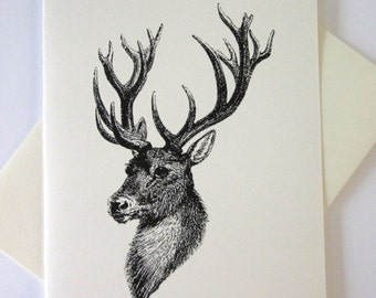 Deer with Antlers Cards Set of 10 in White or Light Ivory with Matching Envelopes