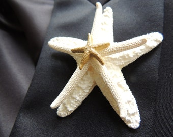 Starfish Boutonniere Lapel Pin Groom Groomsmen Accessories Boutineer Brooch Pin Back Beach Wedding White Gold Weddings Alternatives