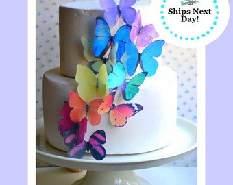 EDIBLE BUTTERFLIES - Large Rainbow Assortment - Butterfly Cake & Cupcake Toppers - Edible Cake Decorations