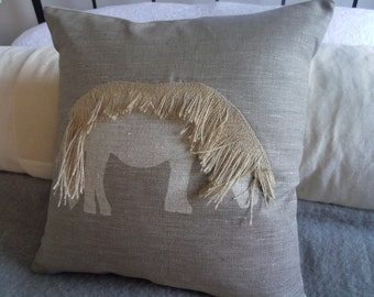 hand printed and appliquéd mink Shetland pony cushion cover