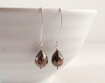 Pyrite Earrings on Sterling Silver