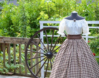 Civil War Pioneer Colonial Plaid or Print Skirt Blouse and Sash
