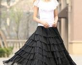 Black skirt woman chiffon skirt maxi skirt long layered skirt custom made summer skirt  (939)