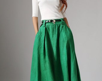 Emerald green skirt, maxi skirt, bohemian skirt, linen skirt, boho skirt, long skirt, womens skirts, fall skirt, pleated skirt,handmade 1038