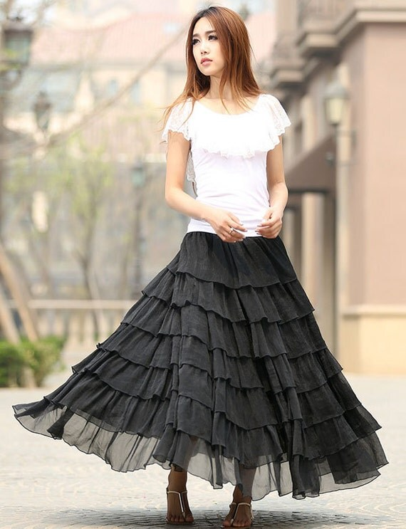 Black skirt, long chiffon skirt, long skirt, layered skirt, elastic waist skirt, womens skirts, swing skirt, Custom made skirt, Gift   (939)