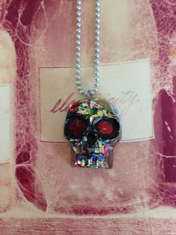 Confetti Glitter Resin Skull Necklace