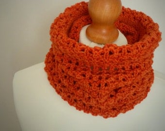 Pumpkin Orange Knitted Snood Infinity Scarf - Hand Dyed Merino - Naturally Dyed Mens & Womens Autumn Fashion Accessory - Ready to Ship