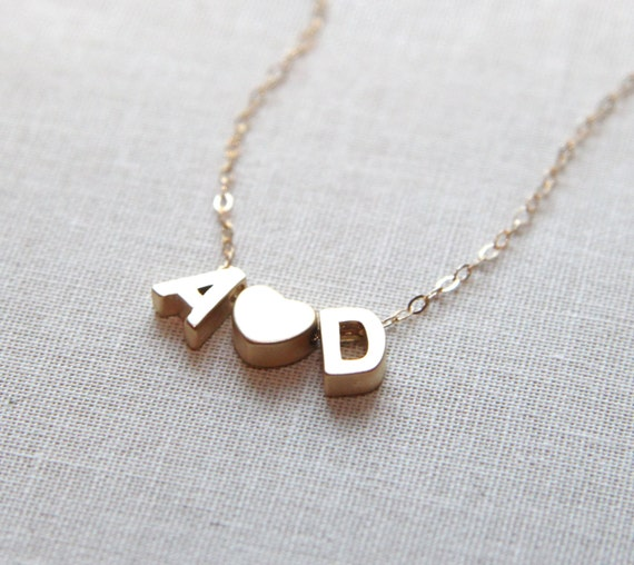 letters necklace tiny gold initial necklace with
