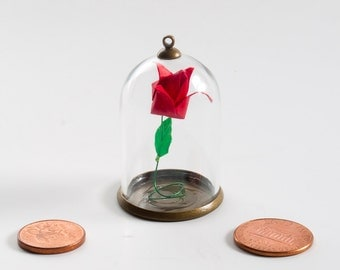 Pendant origami paper red rose in small glass globe