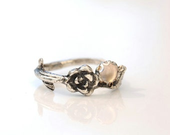 Rose ring sterling silver with rose quartz, size 6.5. Twig ring.