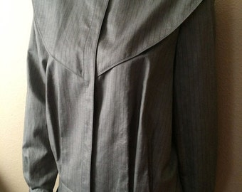 Vintage Women's 80's Tahari, Jacket, Grey, Striped, Fully Lined (L)