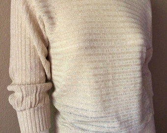 Vintage Women's 80's Sweater, Acrylic, Knit by It's Pure Gould (XS/S)